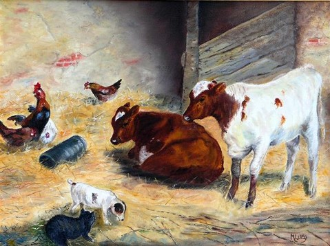 Calves and company in a byre